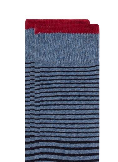 Mavi Çizgili Mavi Soket Çorap Mavi